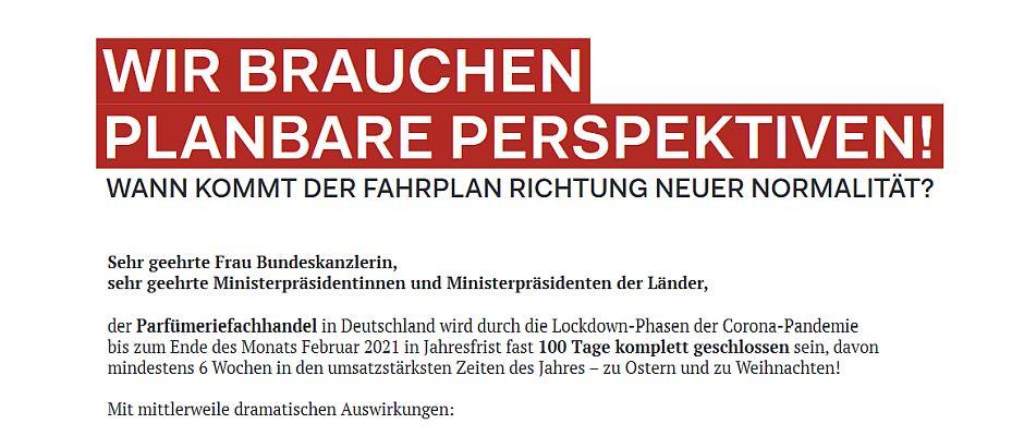 Offener Brief - Bundesverband Parfümerien und VKE fordern Perspektiven